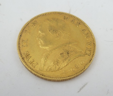 A POPE PIOUS IX 1866 20 LIRE GOLD COIN