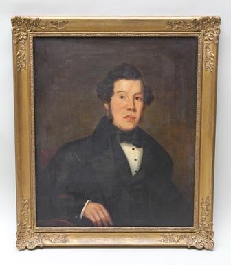 MID-19TH CENTURY BRITISH SCHOOL A portrait study depicting a well-to-do young man, Oil on canvas, see label verso Eli Martin, circa 1850, 75cm x 62cm in an ornate gilt frame