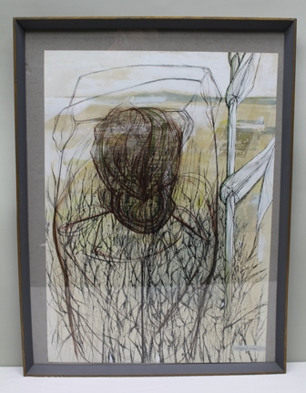 NIGEL LAMBOURNE A 20th century study entitled Landscape and figure, depicting a typically stylised female viewed from behind in an expansive field, Mixed Media, signed, entitled verso with a signed letter from the Artist dated May 3rd 1977 with press cuttings, 75cm x 54cm in plain mount and painted angular frame