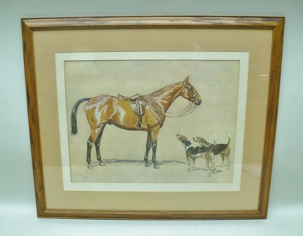 AFTER CECIL ALDIN Hunter and Hounds, a colour Print, 37cm x 50cm mounted in an oak glazed frame