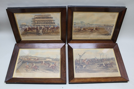 AFTER J. HARRIS The Liverpool Great National Steeple-Chase, 1839, a set of four plates, coloured Engravings, published 1839 by T. McLean, 26 Haymarket, image sizes 40cm x 64cm in rosewood glazed frames