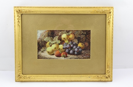 OLIVER CLARE Fruit against a mossy bank, depicting strawberries, grapes and apples, an Oil on board, signed, 14.5cm x 26cm in an ornate gilt gesso frame
