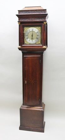 SAM HOLBIN, BITTON A PRINCIPALLY 18TH/19TH CENTURY OAK LONGCASE CLOCK having star inlaid case with column hood, lantern style 30 hour mechanism with locking plate strike, faced by an 11 brass dial, with pendulum, 2.17m high