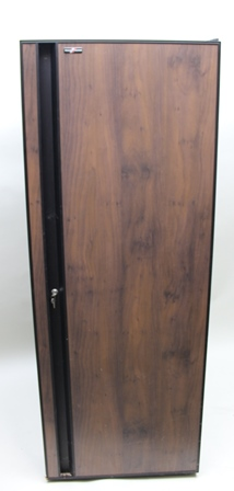 A TRANSTHERM CASTEL UPRIGHT TEMPERATURE CONTROLLED WINE CELLAR CABINET with single door enclosing drawers to top and bottom and twelve bottle rack slides between, approx 156 bottle capacity, height 180cm, width 68cm, depth 68cm