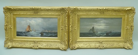 CHARLES ANSLOW THORNLEY (fl. 1858-1885) Shipping at the mouth of the Medway, a pair of Oils on canvas, depicting sailing ships out of harbour in daytime storm and at moonlight, unsigned, each 18cm x 38cm in ornate gilt frames