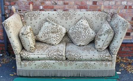 A KNOLL TWO SEATER SOFA in cream / grey