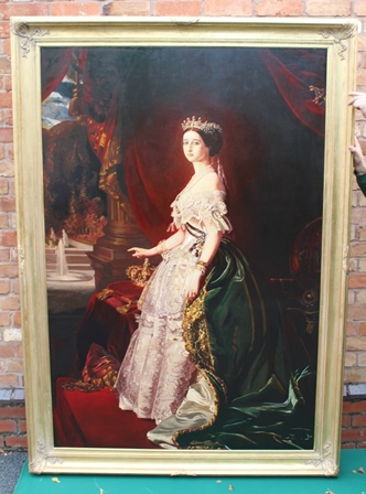 A 20TH CENTURY OLD MASTER copy of a full length portrait of The Empress Eugenie in 1853 after her marriage to Napoleon III, wearing ceremonial costume, with crown upon a red velvet cushion, Oil on canvas, 191cm x 130cm, in ornate gilt frame