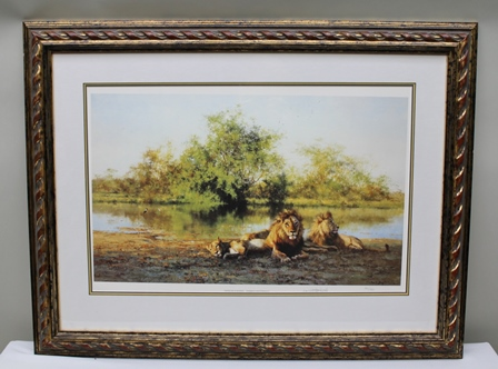 AFTER DAVID SHEPHERD African Evening - Zambezi Waterhole, a signed limited edition colour Print, 40cm x 61.5cm mounted in hand finished heavy rope twist gilt glazed frame