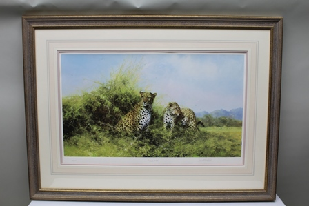 AFTER DAVID SHEPHERD Leopards, a signed limited edition colour Print, 43cm x 71.5cm mounted in lime washed gilt glazed frame
