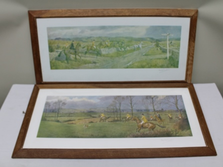 AFTER FRANK ALGERNON STEWART Heythrop, Iccomb Cow Pasture and The Earl of Berkeleys Making for the Rhine Country, two signed colour Prints, published by Vicars Bros., London, 20.5cm x 60cm each in chamfered oak glazed frame (2)