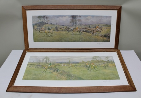 AFTER FRANK ALGERNON STEWART Heythrop, at Ibury Gorse and Heythrop in the Stone Wall Country, two signed colour Prints, published by Vicars Bros., London, 20.5cm x 60cm each in chamfered oak glazed frame (2)