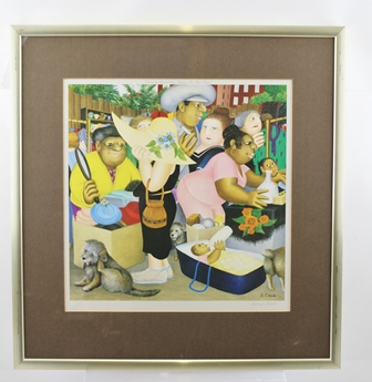 AFTER BERYL COOK The Market, colour print, signed in pencil to the margin, bears Fine Art Trade guild blind stamps, published by Alexander Gallery Publications Ltd, Bristol, England, mounted in gilt glazed frame, 36cm square
