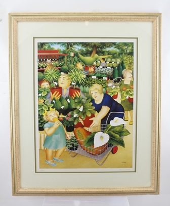 AFTER BERYL COOK The Garden Centre, limited edition colour print, signed in pencil to the margin, 55/850, published by Alexander Gallery Publications Ltd, Bristol, England, mounted in painted gilt glazed frame 51cm x 38cm