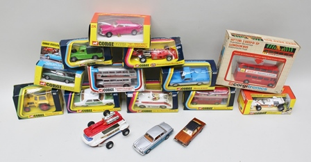 CORGI DIE-CAST MODEL VEHICLES including; Corgi Tronics London Bus over 2000 TC no.275 with take off wheels and Golden Jacks, two buses 468 and 471, Porsche 397, Henley Series T274, Mercedes Benz 240D Police 412, Mazda V16 100 pick-up 493, Massey Ferguson tractor MF50B, Land Rover pick-up with cover 438, STP Patrick Eagle racing car 159, another racing car, all ovb together with Corgi Comics Lunar Bug, Corgi Toys Ford Cortina and H.J. Mulliner Silver Shadow