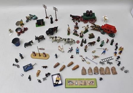 AN INTERESTING AND VARIED COLLECTION OF PAINTED AND OTHER LEAD FIGURES including circus clown, performing dog, farm and zoo animals, farmers, milk maids, pigs, ESSO petrol forecourt, Fargo carriage and horses, dray carriage and horse, Michelin man, Lilliput World model set, miniature model of a boy scout and various other items