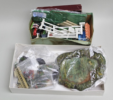 DINKY TOYS No.765 ROAD HOARDING, various plastic barriers, Britains miniature garden series roller, swing hammock, trees and flowers, greenhouse and a collection of Britains cast lead garden base material, plants, pond, etc