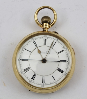 AN 18CT GOLD CASED GENTLEMANS OPEN FACE POCKET WATCH, the movement back plate inscribed Marsh & Co. by appointment to H.M. Office of Works, Birmingham, 40014, white enamel dial with Roman numerals, dial inscribed Marsh & Co. Birmingham, the back with elaborate engraved monogram