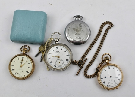 A COLLECTION OF FOUR POCKET WATCHES, an open face 9ct gold cased watch, a 10ct gold plated cased watch with secondary dial on plated chain, a silver cased pocket watch and an Ingersoll Eagle watch (4)