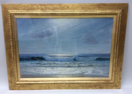 CHARLES DUNLOP TRACY An early 20th century seascape study, believed entitled Moonlight upon the sea, originally exhibited at St. Ives, Cornwall (where mentioned in a critical review), Oil on canvas, signed, see details verso, 49cm x 75cm in original, but later refinished, Whistler glazed frame