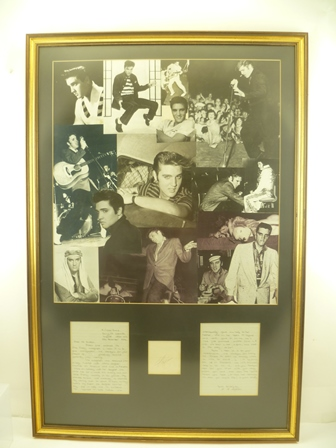 ELVIS PRESLEY (1935 - 1977) A montage of black and white photographs of The Kin, mounted at the bottom his autograph and a letter of provenance, the signature was obtained from Elvis who was walking in the grounds of his Memphis home, in gilt frames, mounted and glazed, overall size 95cm x 63cm