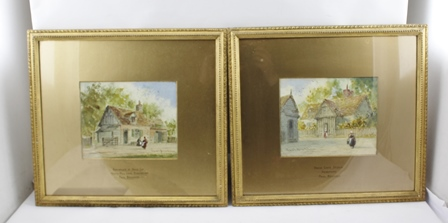 PAUL BRADDON (1864 - 1938) Birthplace of David Cox, Heath Mill Lane, Birmingham, and David Coxs Studio, Hereford, Watercolour paintings, a pair,  signed in gilt, inscribed mounts, 19cm x 24cm, in ornate gilt glazed frames