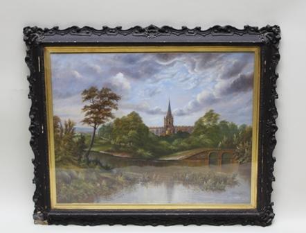 H** THOMPSON Holy Trinity Church, Stratford upon Avon, Oil painting on canvas, signed, 59cm x 74cm, in ornate dark brown glazed frame