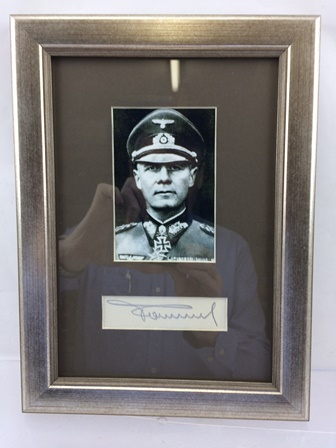 FIELD MARSHAL ERWIN ROMMEL A mounted photographic print with matted signature, signed in pencil by German General Field Marshal Erwin Rommel, 7th Panzer Commander in France 1940 and Supreme Commander of the Africa Corps in North Africa 1941-43 nicknamed The Desert Fox, image size 12cm x 8cm, mounted in silvered glazed frame