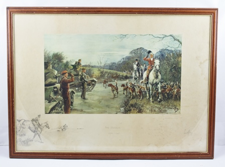 AFTER CHARLES JOHNSON PAYNE (SNAFFLES) 1884-1967 The Season 1939 - 40, colour print signed in pencil Snaffles, also with Snaffle bit blind stamp, remarque lower left to the ground on which the colour print is mounted, in stained wood glazed frame, size of colour section 28cm x 48cm