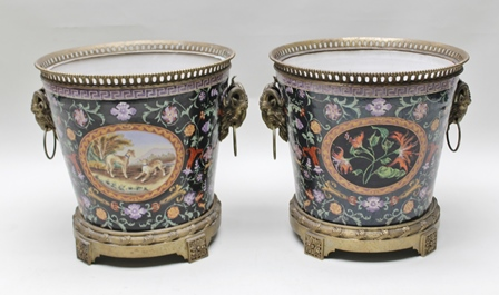 A PAIR OF 20TH CENTURY SUBSTANTIAL CERAMIC PLANTERS, with decorative brass mounts & goat mask ring handles, 50cm high x 50cm diameter top