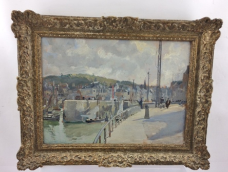 THOMAS CANTRELL DUGDALE (1880-1952) Honfleur, a harbour scene with figures and sail boats, an Oil on board, signed and inscribed, 25cm x 35cm in an ornate gilt gesso frame