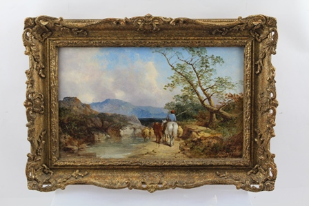 JAMES HARDY SENIOR (1801-1879) Extensive landscape with drover on the path, Oil on canvas, signed, 20cm x 33cm in an ornate gilt wood frame
