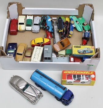 A COLLECTION OF DINKY AND CORGI DIE-CAST VEHICLES, Aston Martin, Jaguar, Connaught and Lotus Sports, seven various racing cars including Talbot Largo, Cooper Bristol, Ferrari, three Speed of the Wind heavy cast model of Silver Bullet, a Dinky Supertoys Foden tanker, Corgi Toys Whizzwheels Porsche Targa in OVB and twelve other various cars and lorries, clockwork tinplate German saloon car, Corgi Toys MG CGT competition model and remains of OVB, German made Colner Automodelle Jaguar XK120 with chrome body and adjustment setting