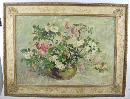 IRENE WELBURN R.O.I., R.B.S.A. (1910-2000) Still-life, vase of Apple Blossoms, Oil painting on canvas, signed, 40 x 59cm, in decorative painted gilt frame