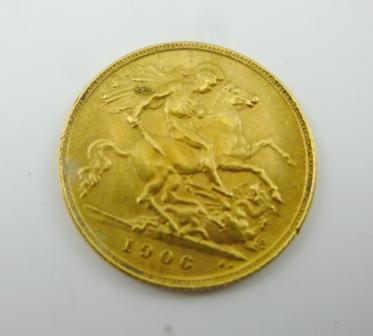 AN EDWARD VII GOLD HALF- SOVEREIGN, 1906
