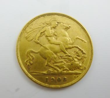 AN EDWARD VII GOLD HALF- SOVEREIGN, 1908