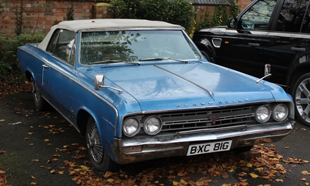 OLDSMOBILE CUTLASS TWO DOOR CONVERTIBLE, first registered 2nd August 1968, registration BXC 8IG, 5408cc petrol V8 engine, colour blue, manual gearbox, electric hood,  MOT expired 17th June 2015 - to be sold as seen