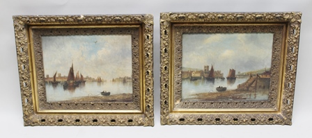 19TH CENTURY BRITISH SCHOOL Harbour scenes with sail boats, a pair of Oil paintings on canvas, one indistinctly signed, 40cm x 50cm, in ornate gilt frames