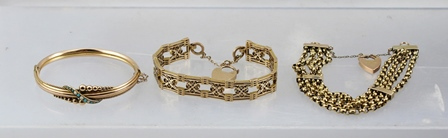 A 9CT GOLD BANGLE SET WITH TURQUOISE AND SEED PEARLS, together with a 9ct gold chain link BRACELET with 9ct gold padlock clasp, and one other yellow metal gate link style  BRACELET (3)