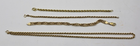 A 9CT GOLD FANCY LINK NECKLACE, together with THREE 9CT GOLD DECORATIVE LINK BRACELETS, combined weight 12g