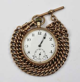 A 9CT GOLD CASED GENTLEMANS POCKET WATCH, white enamel dial with Arabic numerals and secondary dial, on a 9ct rose gold double Albert watch chain with T bar and clips, chain weight 32g