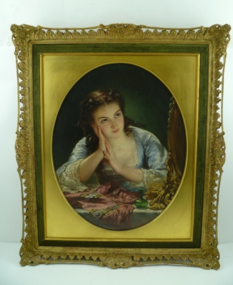 ALFRED FOWLER PATTEN (1829-1888) Reflection, a young woman at her dressing table, an Oil on canvas, signed A.F. Patten and dated 1870, bears label verso with title, Artists name and address, 48cm x 38cm in an oval mount within a decorative gilt wood frame