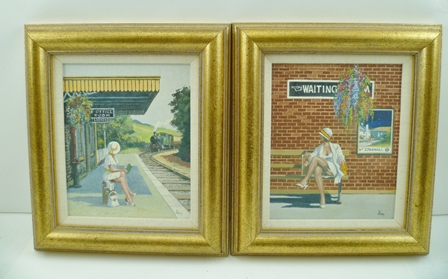 ALAN KING (1946-2013) Waiting a young woman at a railway station, in one a steam train is arriving, a pair of Oil paintings on board, signed A. King, 19.5cm x 16cm, in gilt frames (see info. verso)