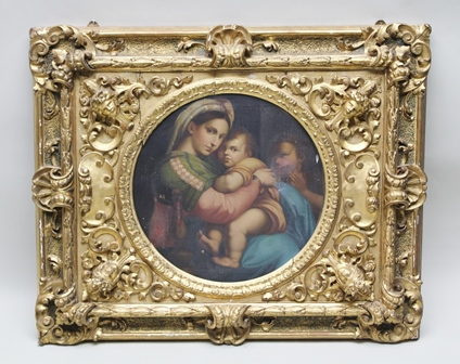 AFTER RAPHAEL The Virgin of the Chair (Madonna della Sedia) Tondo Oil on canvas, 53cm diameter, in an ornate gilt gesso frame with mask mounts to the corners, acanthus scrolls and scallops