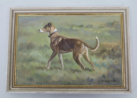 MADELINE SELFE A study of a Lurcher (Greyhound cross) in a landscape, an Oil on board, signed 26.5cm x 39cm in a gilt slip and painted frame