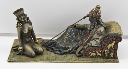 A BRONZE IN THE STYLE OF BERGMAN Master and his slave girl, partially painted and gilded, base 18cm x 8.5cm