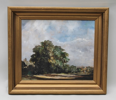 GOSTA NORDBLAD (1897-1940) A Parkland scape, with trees and figures in the mid ground, distant buildings, considered to be France, an Oil on canvas, signed and dated 1926 (see label verso), 44cm x 52cm in gilt frame