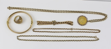 A QUANTITY OF YELLOW METAL JEWELLERY, mostly considered to be 9ct., but unmarked, includes a bangle, ring, three chains, and a pendant on chain