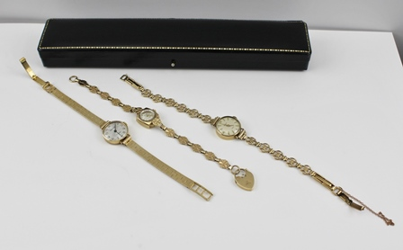THREE 9CT GOLD CASED LADYS EVENING WATCHES with 9ct gold bracelet straps, total weight 44g. (includes lenses and movements)