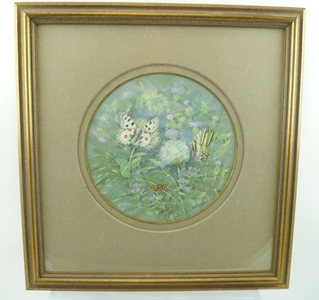 GORDON BENINGFIELD (1936-1998) Nature Study - Butterflies on thistles, the butterflies are Apollo, Chequered Skipper and a Southern Swallowtail, a Watercolour, signed, 22cm diameter, circular mounted in a gilt glazed frame