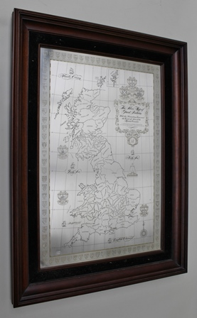 THE SILVER MAP OF GREAT BRITAIN ENGRAVED SILVER PANEL, a limited edition issued for the Council of Rural Britain, hallmarked, 55cm x 36cm in stained wood glazed frame, together with an early official BBC Antiques Roadshow TEA TOWEL
